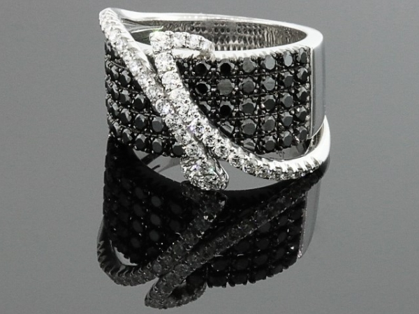 Fashion Ring - 18 karat white gold Cherie Dori black and white diamond ring, 2.22ctw.