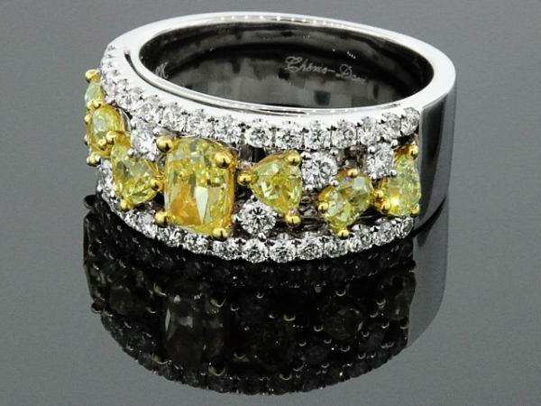 Fashion Ring - 18 karat two-tone Cherie Dori diamond ring. 1.59ctw natural yellow fancy shaped diamonds, .67ctw and white diamonds .67ctw.