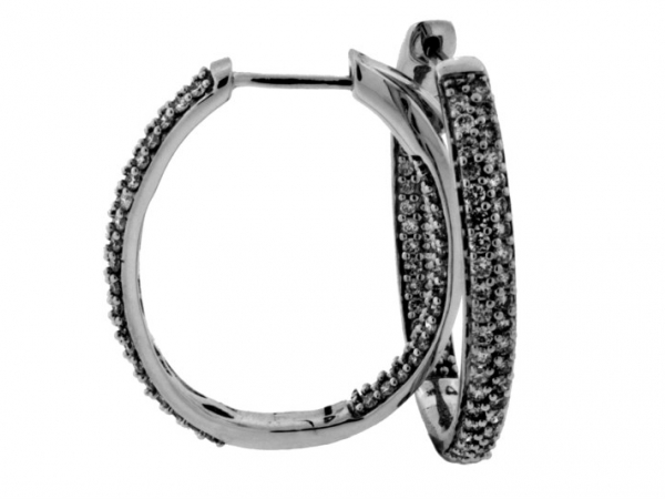 Earrings - 14KW 1.0CTW INSIDE/OUT OVAL DIAMOND HOOP EARRINGS