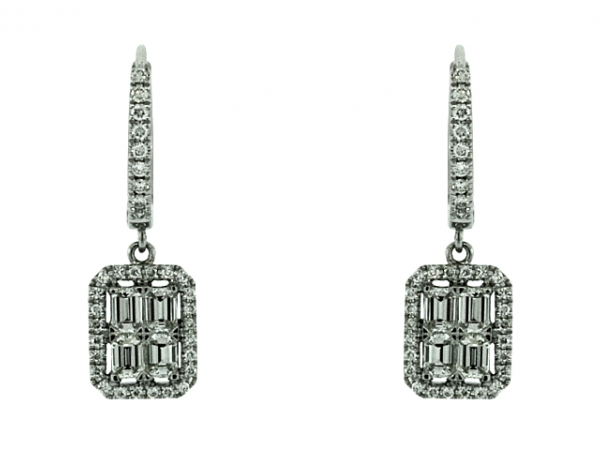 Earrings - 18 karat white gold Cherie Dori diamond earrings with emerald cut and round diamonds, 1.10ctw.