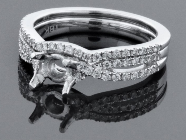 Diamond Semi-Mounting Wedding Sets - CZ 18KW .42CTW F10 LDS DIAMOND SEMI MOUNT WEDDING SET CZ