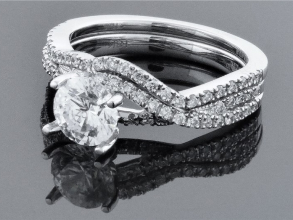 Diamond Semi-Mounting Wedding Sets - CZ 18KW .5CTW F10 LDS DIAMOND SEMI MOUNT WEDDING SET CZ