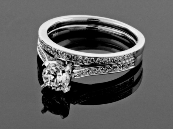 Diamond Semi-Mounting Wedding Sets - CZ 14KW .20CTW DIAMOND SEMI-MOUNT WEDDING SET