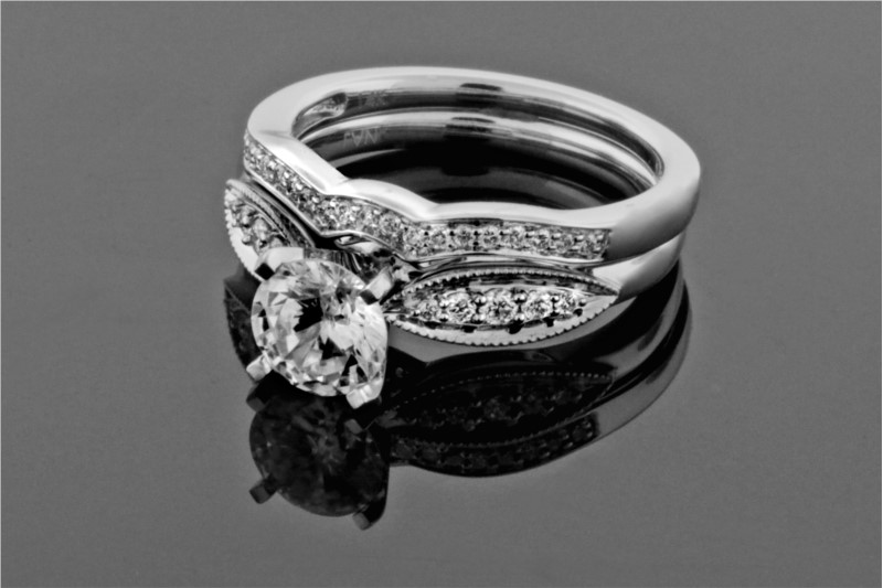 Diamond Semi-Mounting Wedding Sets - CZ 14KW .23CTW DIAMOND SEMI-MOUNT WEDDING SET