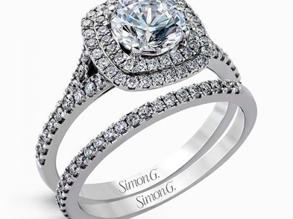 Diamond Semi-Mounting Wedding Sets - CZ 18KW .62CTW SIMON G DIAMOND SEMI-MOUNT WEDDING SET  AUTH # 531435