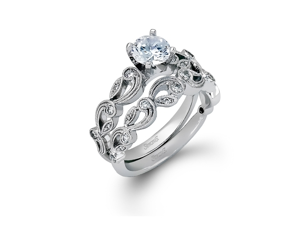 Diamond Semi-Mounting Wedding Sets - CZ PLAT .33CTW SIMON G SEMI MOUNT DIAMOND WEDDING SET AUTH#550296