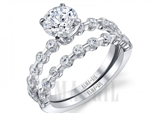Diamond Semi-Mounting Wedding Sets - CZ 18KW .89CTW 'ELMA GIL' DIAMOND SEMI MOUNT WEDDING SET