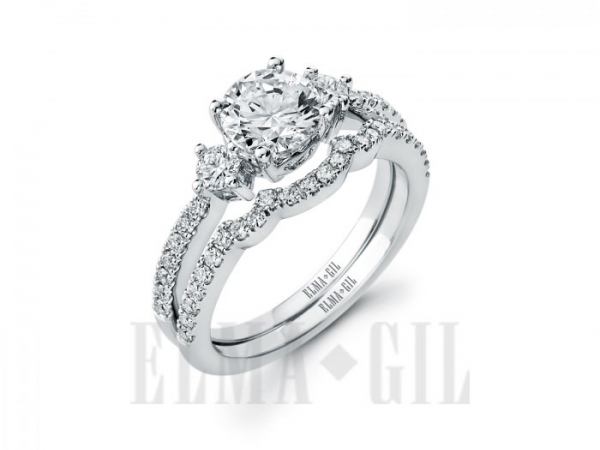Diamond Semi-Mounting Wedding Sets - CZ 18KW .59CTW 'ELMA GIL' DIAMOND SEMI MOUNT WEDDING SET