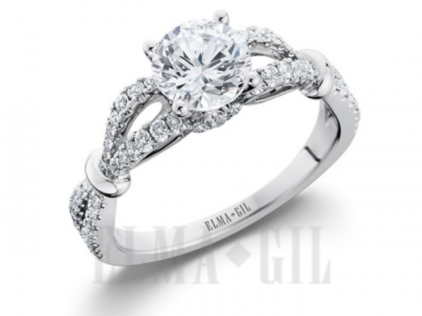 Diamond Semi-Mounting Wedding Sets - CZ 18KW .54CTW 'ELMA GIL' DIAMOND WEDDING SET