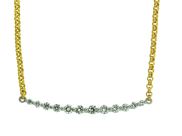 Necklace - 14 karat two-tone .40ctw Cherie Dori diamond bar necklace attached to a 14 karat yellow gold  rolo chain.