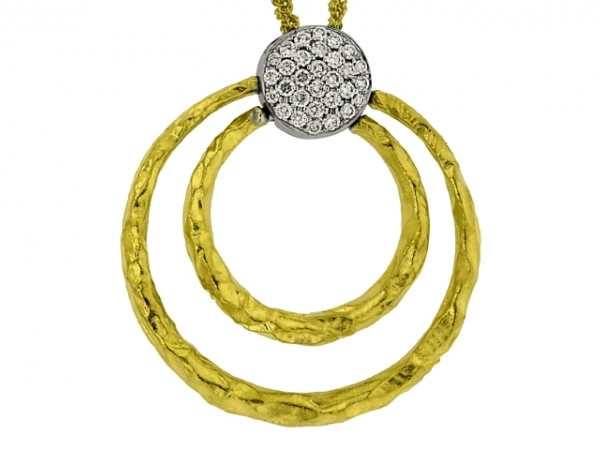 Necklace - 18 karat two-tone Cherie Dori diamond circle pendant, .44ctw, on 18