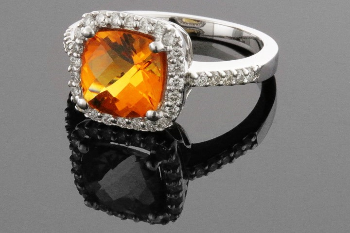 Fashion Ring - 14KW D=.39CTW LDS CITRINE & DIAMOND RING