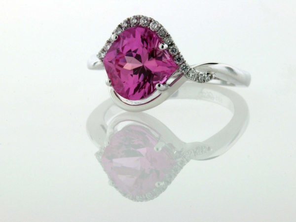 Fashion Ring - 14KW .13CTW CHATHAM CREATED PINK SAPPHIRE RING