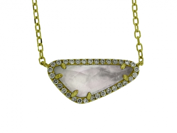 Necklace - 14KY.20CTW MOTHER OF PEARL/WHT TOPAZ NECKLACE