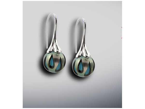 Earrings - 14KW TURQUOISE GALATEA  PEARL EARRINGS