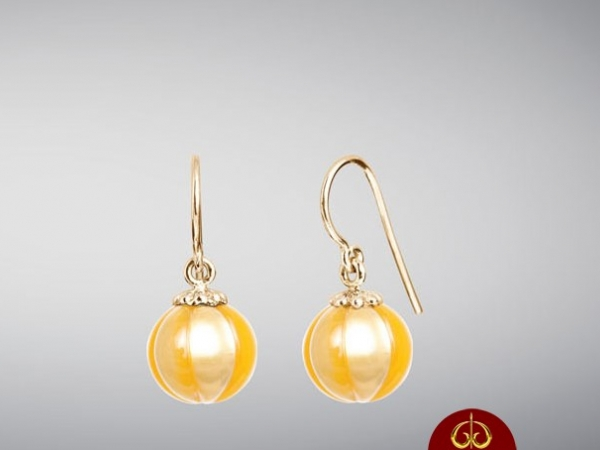 Earrings - 14KY GOLDEN PEARL 'POPPY