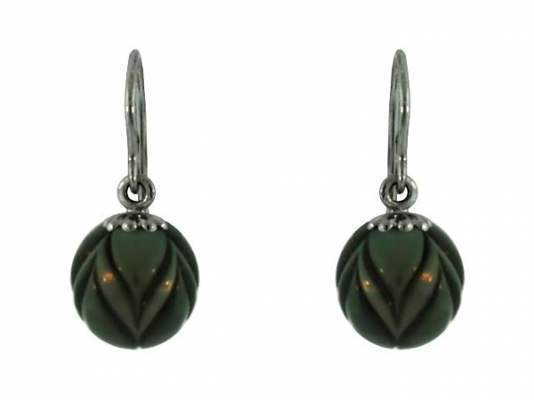 Earrings - 14KW BSS BLACK  PEARL TULIP EARRING