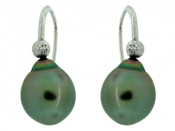 Earrings - 18KW 11MM TAHITIAN PEARL DROP EARRINGS