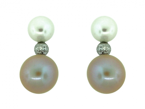 Earrings - 18KW NATURAL COLOR FRESHWATER PEARL EARRINGS
