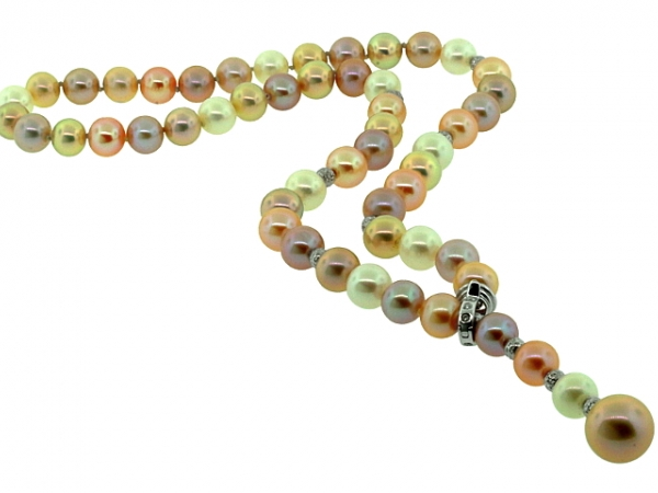 Strand - 18KW .23CTW NATURAL COLOR FRESHWATER PEARL LARIAT NECKLACE