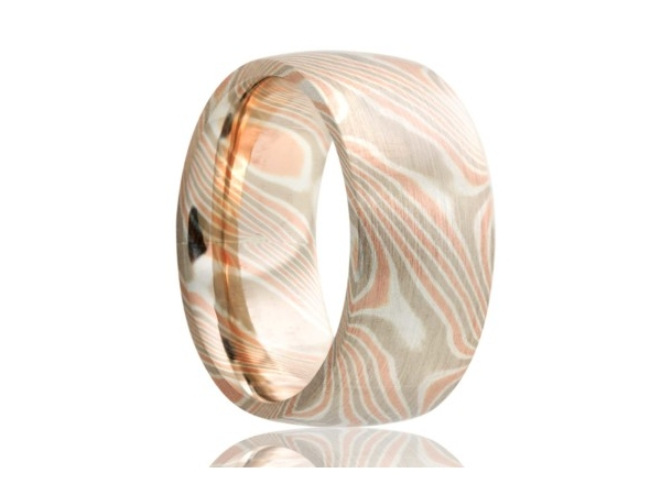 Wedding Band - 14KW&R WITH STERLING SILVER MOKUME GANE BAND