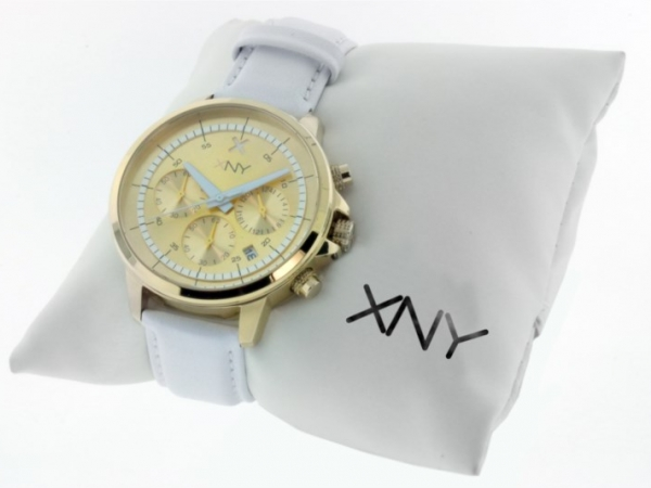 Watch - XNY CHRONOGRAPH WHITE LEATHER BAND LADIES WATCH
