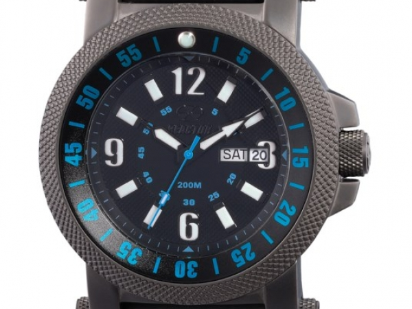 Watch - MATTE BLACK BRACELET, DAY/DATE, BLACK & LT BLUE DIAL REACTOR WATCH