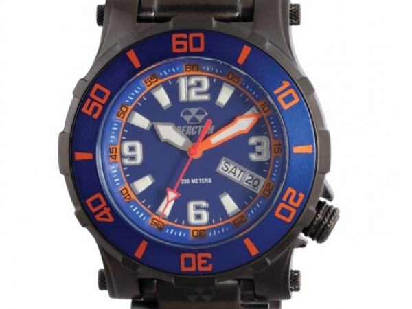 Watch - BLACK NITRIDED STAINLESS BRACELET, BLUE & ORANGE DIAL REACTOR WATCH