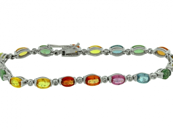 Bracelet - STERLING SILVER WHITE TOPAZ AND COLORED SAPPHIRE BRACELET