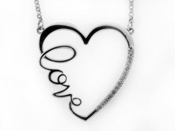 Pendant - STERLING SILVER .16CTW LOVE HEART DIAMOND NECKLACE