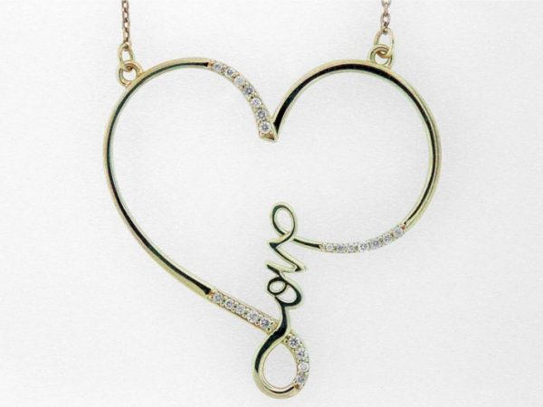 Pendant - STERLING SILVER .12CTW LOVE HEART DIAMOND NECKLACE