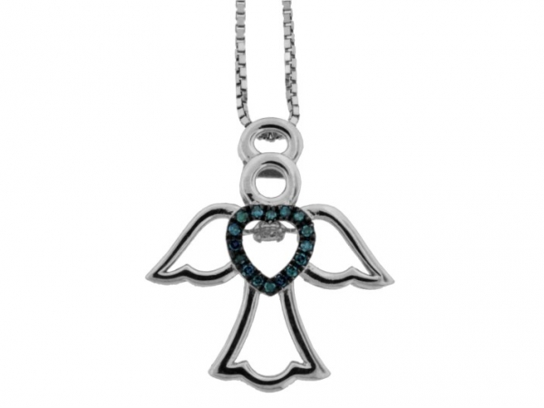 Pendant - STERLING SILVER .10CTW BLUE DIAMOND ANGEL RHYTHM OF LOVE PENDANT