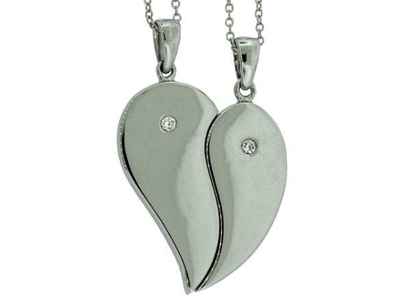 Pendant - STERLING SILVER SOUL MATE .05CTW DIAMOND PENDANT SET