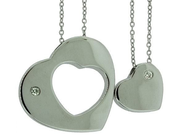 Pendant - STERLING SILVER .05CTW SOUL MATE DIAMOND PENDANT SET