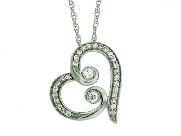 Pendant - STERLING SILVER 1/4CTW TWO OF US HEART PENDANT