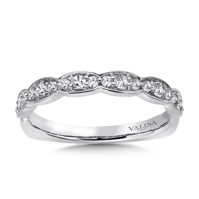 wedding band ladys white 14 karat wedding band with 023tw round gh - Womens Diamond Wedding Rings