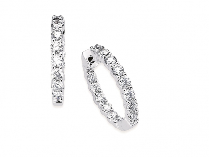 Earrings - Diamond Inside Out Hoops - image #2