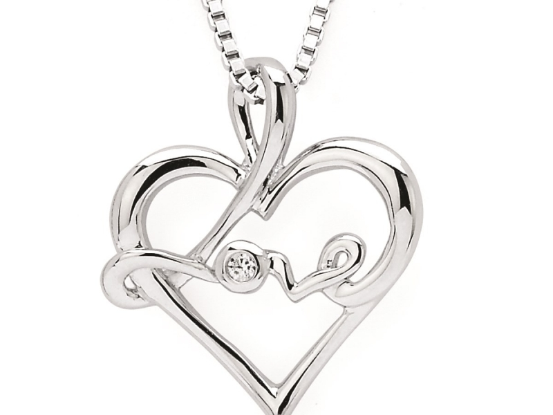 Pendants & Necklaces - SS Diamond Love Pendant  - image #2