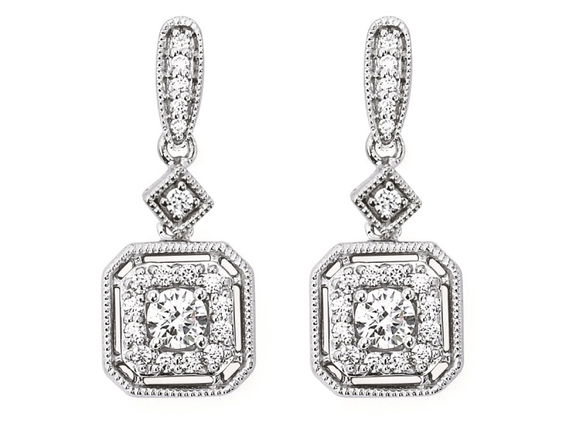 Earrings - Diamond Halo Cusion Earrings - image #2