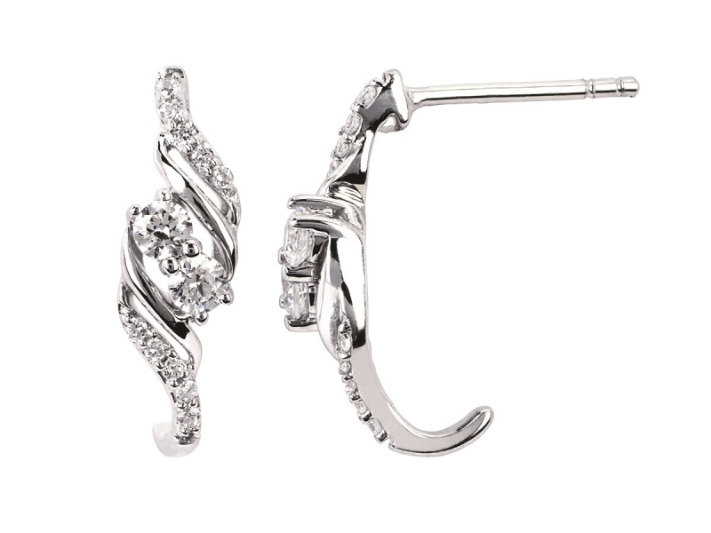 Diamond Two Stone Jewelry - Two Stone Diamond Earrings - image #2