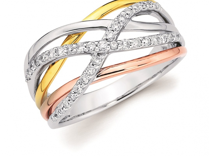 Rings - Tri-Tone Woven Diamond Ring - image 2