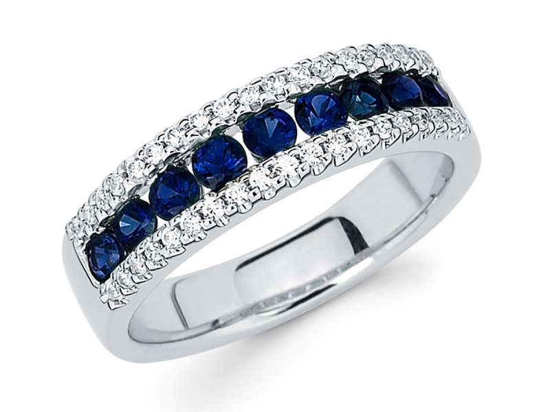 Rings - Diamond and Sapphire Fashion Ring - image #2