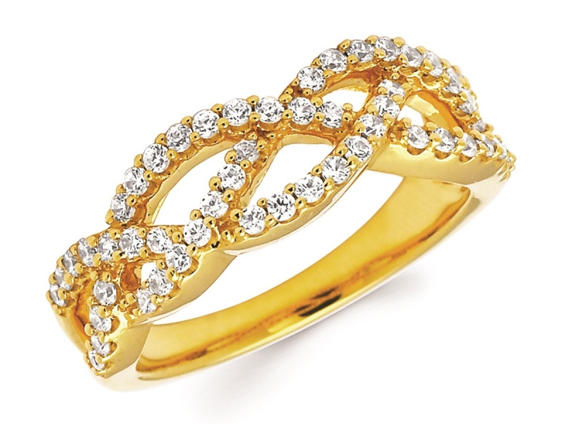 Rings - Braided Diamond Fashion Band - image #2