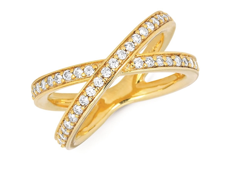 Rings - Diamond Criss Cross Ring - image #2