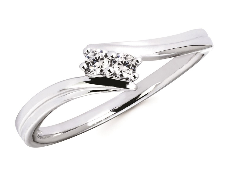 Diamond Two Stone Jewelry - Two Stone Diamond Ring - image #2