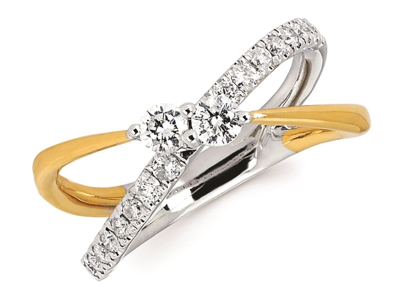 Womens Fashion - Diamond Two Stone Ring - image #2