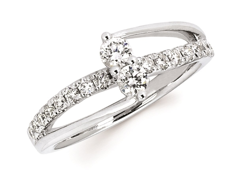Diamond Two Stone Jewelry - Diamond Two Stone Ring - image #2