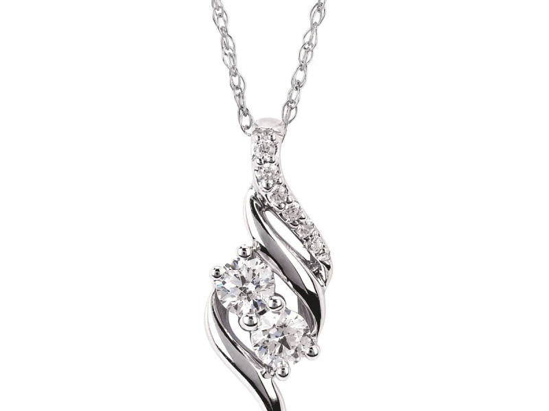 Diamond Two Stone Jewelry - Diamond Two Stone Pendant - image 2