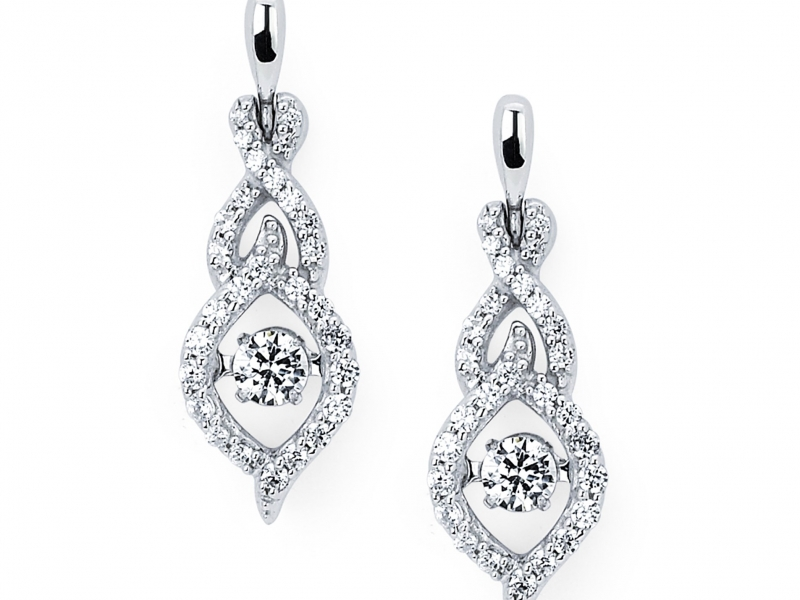 Earrings - Shimmering Diamond Earrings - image #2