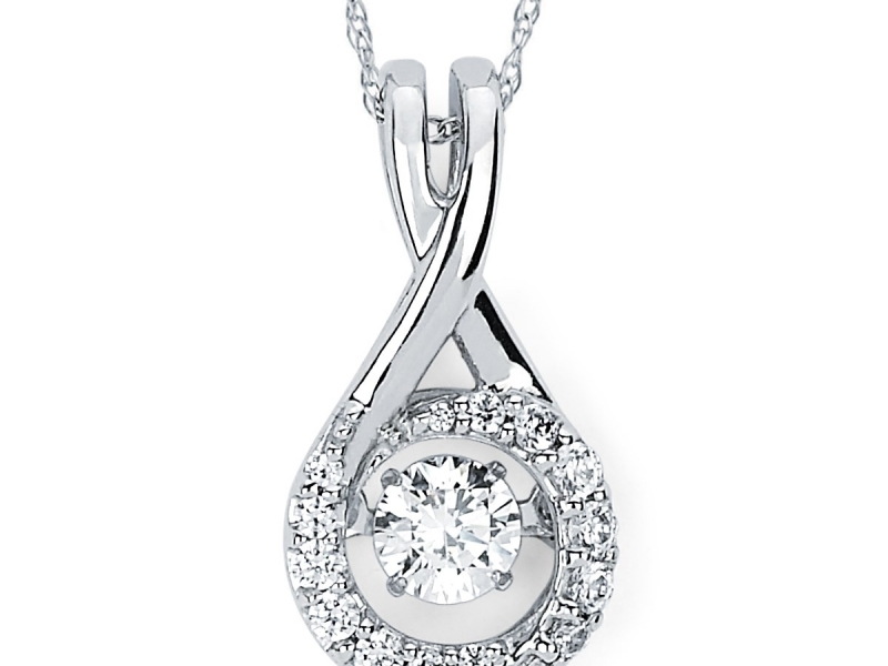 Pendants & Necklaces - Halo Shimmering Diamond Pendant - image #2